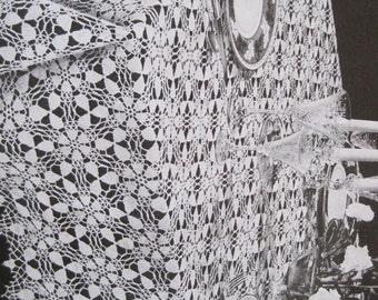 "Crochet Pattern - Lacy Star Banquet Cloth - 57"" x 73"" - Vintage 1950's"