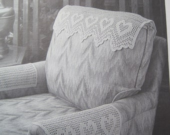 Crochet Pattern - Antimacassar - Chair Set, Headrest, and Arm Rest - Vintage