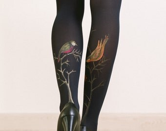 Tights with hand painted motives - Birds and berries