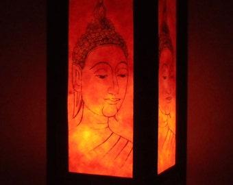 Thai Handmade Asian Oriental Orange Head Buddha Paper Lamp Shade Bedside Table Light Home Decor Bedroom Decoration Modern Thailand