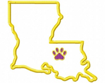 State of Louisiana applique with paw print embroidery design download - 5x7 size