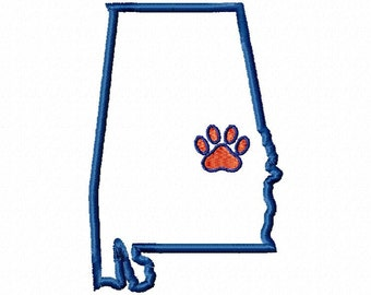 State of Alabama Auburn paw print design applique download - 4x4 size