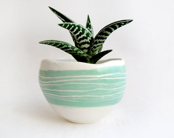 Glazed Spherical Earthenware Planter with  Details in Turquoise Green,Striped Sgraffito and Drainage Hole for the Water. Made To Order