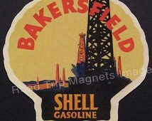 Shell Gasoline 1920 Travel Decal Magnet BAKERSFIELD. Accurate reproduction & hand cut in shape as designed. Nice 1920's Travel Decal Art.