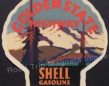 Shell Gasoline 1920s Travel Decal Magnet GOLDEN STATE HIGHWAY. Accurate reproduction & hand cut in shape as designed. Nice Travel Decal Art.