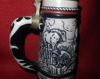 Avon Beer Mug 1976 Handcrafted Embossed Lidded Wildlife made Ceramarte in Brazil