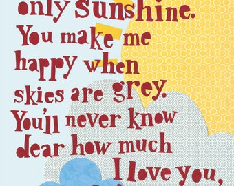 Childrens Wall Art, Nursery Art, Room Decor- You are my Sunshine Print.