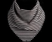 Black and White MicroStriped Bandana Bib