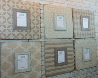 Six piece gallery wall frame grouping with removable / interchangeable magnetic 5x7 picture frames. Customization available.