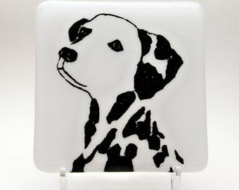 Dalmatian Fused Glass Coaster