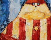 """Pat Cat by Kat McD. is a Patriotic fellow - True AMerican in Red, White and Blue stripes 12"""" x 16"""" acrylic on Canvas"""