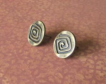 Bronze Spiral Button Earrings