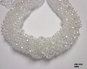 100 bead Clear Faceted Rondelle Chinese Crystal Beads 6x8mm