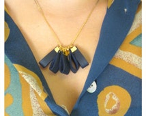 Gold and blue leather drops necklace, woodland jewelry, bridesmaids gifts, statement necklace