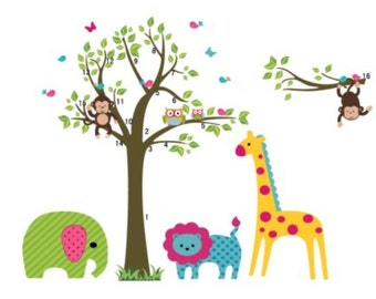 Green Elephant, Blue Lion, Yellow Giraffe and Monkey Wall Sticker / Decal - AW5071