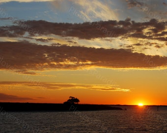 Sunset at Anchor Photograph // Pensacola, Florida Ft. McRee Sunset Photo // Nature Landscape Photograph
