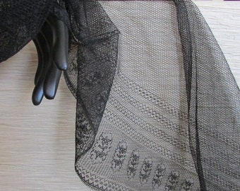 Antique Black Silk Net Lace, Vintage Victorian Silk, Vintage Black Silk MRS9