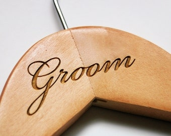 Groom Hanger - Engraved Wood Groom Hanger for Wedding Attire