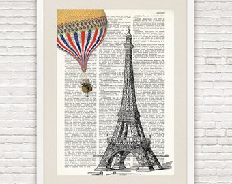 Dictionary Print EIFFEL TOWER and Hot Air BALLOON, vintage style, Hot air balloon, Paris prints, chic prints, Eiffel Tower wall art, #002