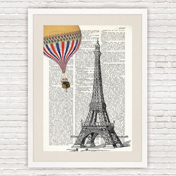 L mina de diccionario torre eiffel con globo ilustraci n - Laminas para decorar ...