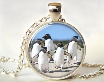 Penguins Art Pendant, Penguins Necklace, Penguins Jewelry, Art Pendant, Picture Pendant, Gift, Print (0685)