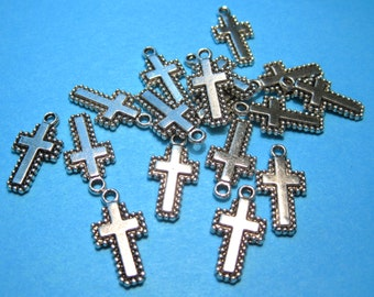 Antique Silver Cross Charms Pendants 19x10mm