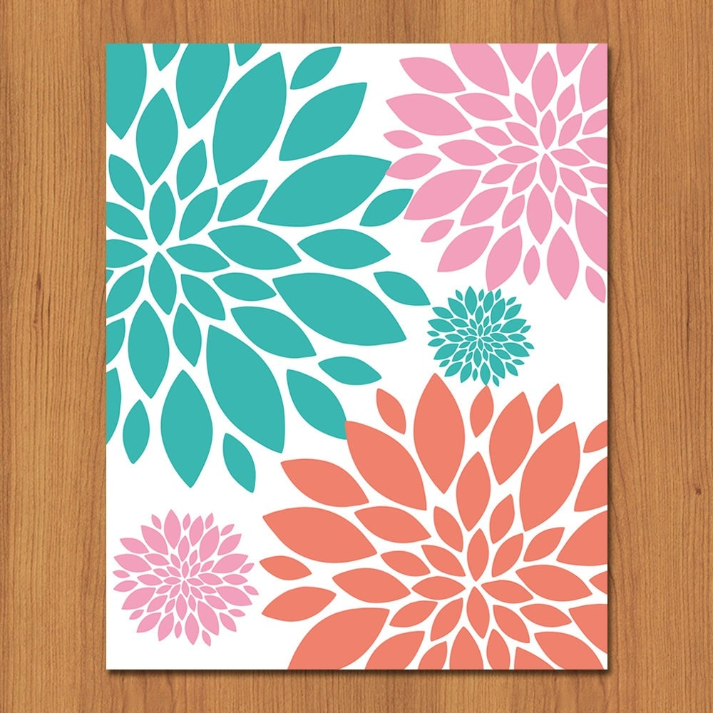 floral nursery wall art print coral teal by paisleypeacockprints. Black Bedroom Furniture Sets. Home Design Ideas