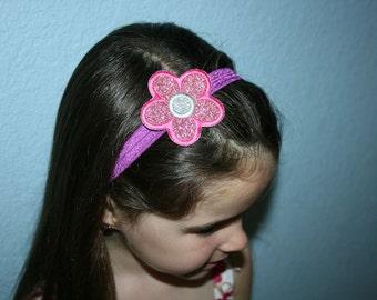 Sparkly Flower, stretchy headband, flower headband, glitter