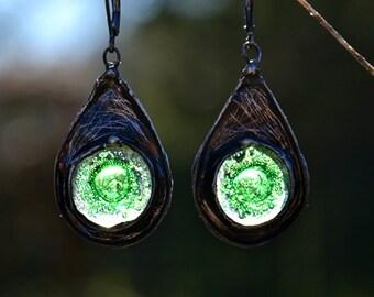 SPRING GREEN, bohemian earrings, drop earrings with glass, statement earrings, old silver dangle earrings, old style, long summer earrings