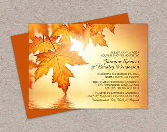 DIY Printable Fall Couples Shower Invitation With Orange Autumn Leaves, Fall Wedding Shower Invitation Cards, Fall Leaves Bridal Shower