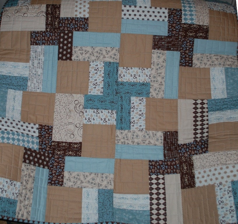 Pure fabrics baby boy quilt for Quilt material for boys