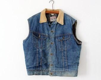 vintage 70s Lee Storm Rider vest,  denim biker vest