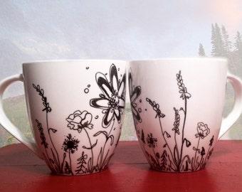 Wildflower Porcelain Handpainted Mug