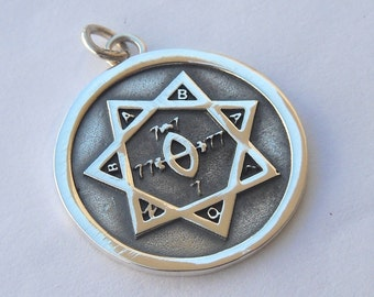 Seal of the Argentum Astrum Thelema Aleister Crowley Pendant Sterling Silver 925
