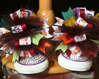 Thanksgiving Shoe Bows or Pigtail bows