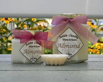 Small ALMOND Soy Candles! 4oz Hexagon jars, Sweet Soy Candle, Baking scent Candle, Bread Candle, Almond Pound cake, Bakery Scent