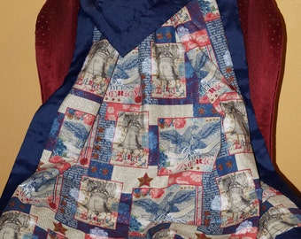 "Large Patriotic lap blanket 44"" x 55"""