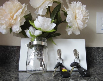 Mason Jar Key Hook, - Two KeyHook Perfect as a housewarming gift or for your own home!