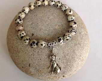 Enjoy Life. Dalmation Dog Bracelet. Dalmation beaded bracelet. Stretch bracelet. Simple, minimalist bracelet. Silver tone dalmation charm.