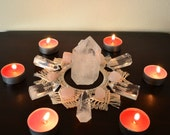 Meditation Altar gift. Crystal grid handmade macrame. Sacred geometry macrame placemat. Flower of life for Crystal healing