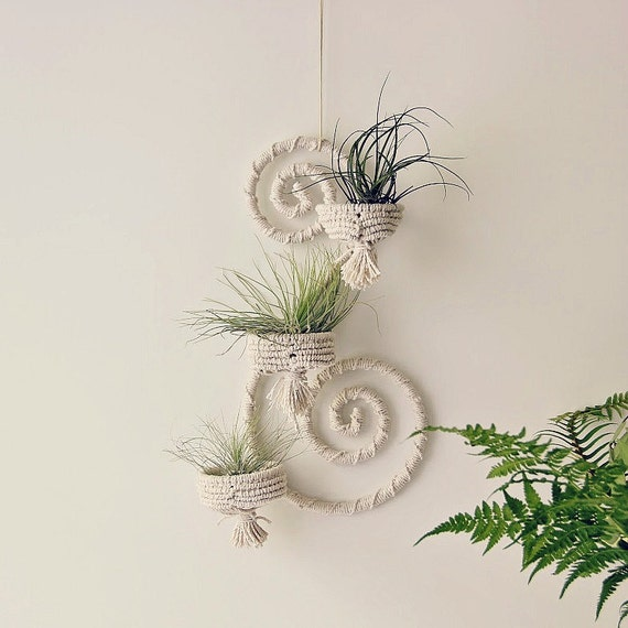 Hanging Plant Wall Decor : Iron wall decor wrapped hanger macrame by