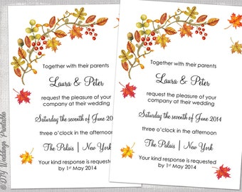 Fall Wedding Invitation Template DIY Printable Invitations Autumn Leaves Templates Thanksgiving