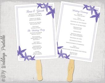Wedding Fan Program Template Starfish Regency Purple DIY Order Of Ceremony Printable Beach