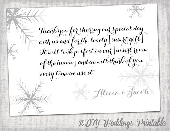 "Snowflake thank you card template ""Snowflake"" winter wedding thank you ..."