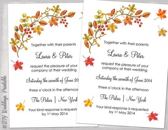 Fall Wedding Invitation Template DIY Fall
