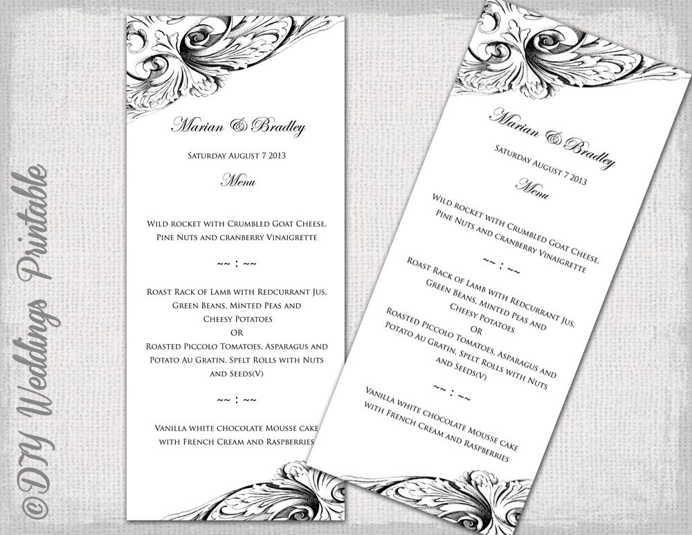 Menu template black white diy wedding menu vintage for To go menu template free