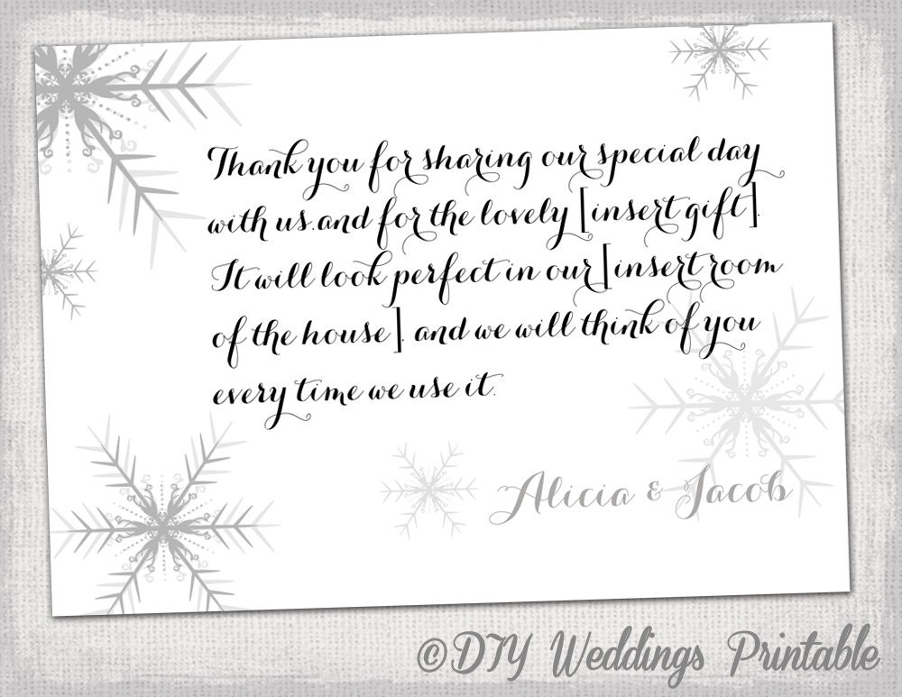 Snowflake thank you card template by diyweddingsprintable on Etsy