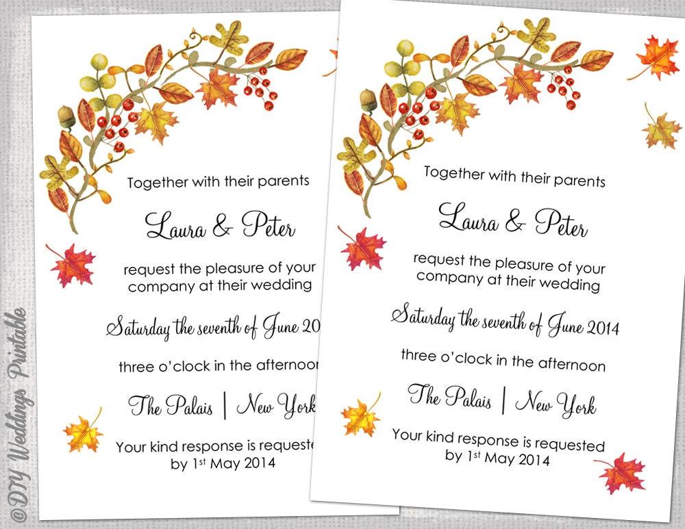 Diy Autumn Wedding Invitations: Fall Wedding Invitation Template DIY Fall
