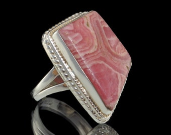 Rhodochrosite & 925 Sterling Silver Statement Ring - Sz US 8 (UK,  Aus. P 1/2) #B304