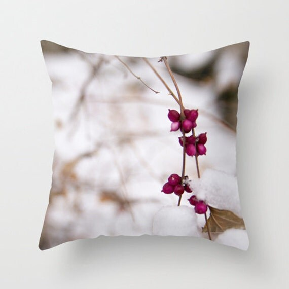 Pillow Cover, Pink Berries, Winter Photography, Home Decor, Decorative Pillow, Bedroom Decorations, White and Pink, Indoor Outdoor, Midwest